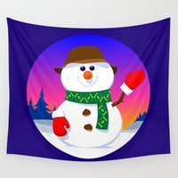 snowman Wall Tapestries featuring SnowMan by tuditees