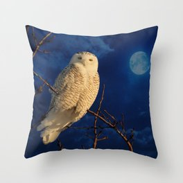 The owl and mystical moon Throw Pillow