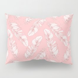 White feathers on a pink background Pillow Sham