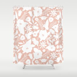 Finley Floral Blush Pink Shower Curtain