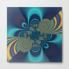 fractal and turquoise Metal Print