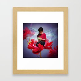 Red Bug Fairy Framed Art Print