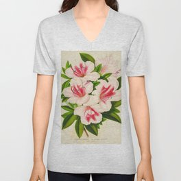 Azalea Indica Vintage Botanical Floral Flower Plant Scientific Illustration Unisex V-Neck