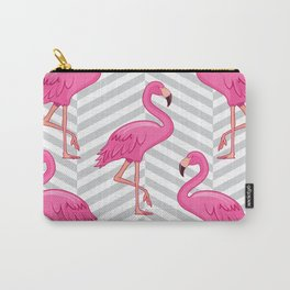 Flamingo with Cross Pattern Background Carry-All Pouch