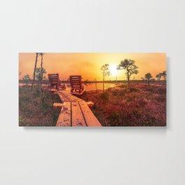 Bog sunset Metal Print
