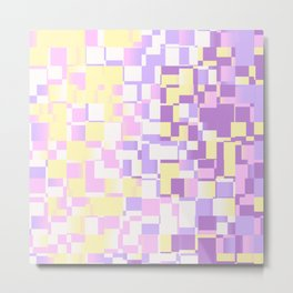 Abstract Geometric pixels with Unicorn Colors design Metal Print