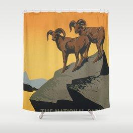 Vintage poster - National Parks Shower Curtain