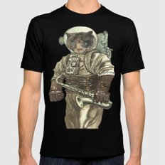 Space Cat with Saxophone MEDIUM Mens Fitted Tee Black