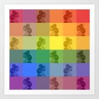 Barbie print on colors - Rainbow Flag! Art Print