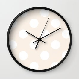Large Polka Dots - White on Linen Wall Clock