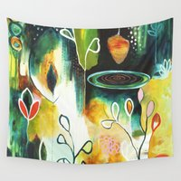 "flora bowley Wall Tapestries featuring ""Deep Growth"" Original Painting by Flora Bowley by Flora Bowley"