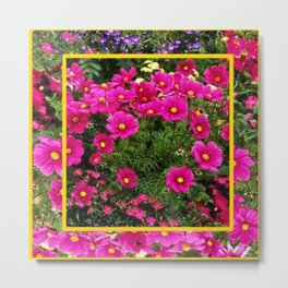DECORATIVE FUCHSIA PINK COSMOS GARDEN FLOWERS Metal Print
