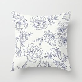 Vintage Roses x Springflowers Throw Pillow