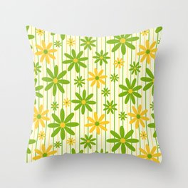 Bohemian Retro 70s Groovy Daisy Pattern with Stripes , Hand-painted in Grass Green, Golden and Ivory Throw Pillow