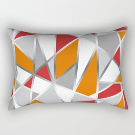 Geometric Shapes in Red, Orange and Gray Rectangular Pillow