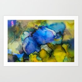 Abstract acrylic blue and gold Art Print