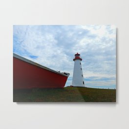 Boat and Lighthouse in Point Prim PEI Metal Print