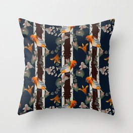 Beautiful plants, stripes and colorful birds Throw Pillow