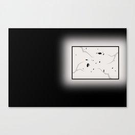Broken window in darkness Canvas Print