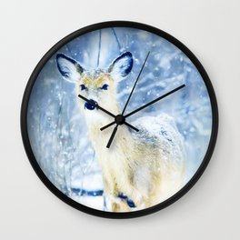 Doe In The Snow Wall Clock