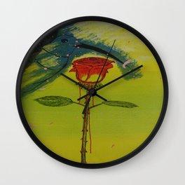 Blurry hummingbird and a melting roze Wall Clock