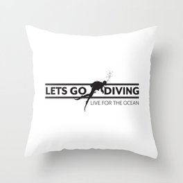 Lets Go Diving Throw Pillow