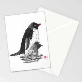Adelie Penguin and chicks Stationery Cards