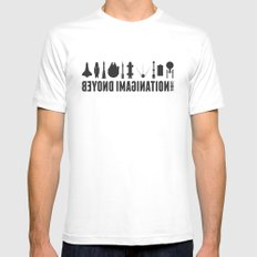 Beyond imagination: Space Shuttle postage stamp Mens Fitted Tee LARGE White