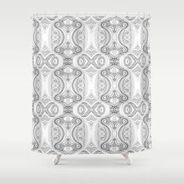 Design 127 grayscale abstract Shower Curtain