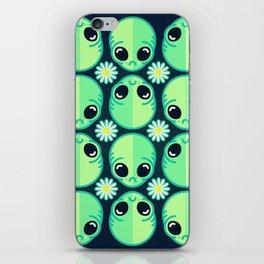 Sad Alien and Daisy Nineties Grunge Pattern iPhone Skin