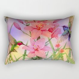 Painterly Hummingbirds And Flowers Rectangular Pillow