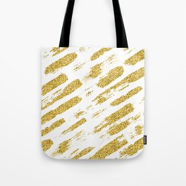 Gold glitter brush print Tote Bag