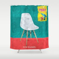 eames Shower Curtains featuring Eames Chair  by Xchange Art Studio