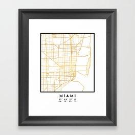 MIAMI FLORIDA CITY STREET MAP ART Framed Art Print