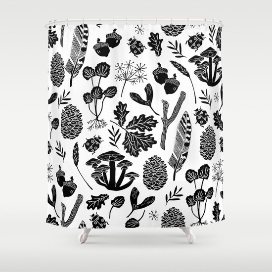 Linocut minimal botanical boho feathers nature inspired Nature inspired shower curtains