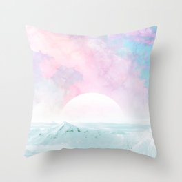 Winter Landscape on Candy Marble Sky Throw Pillow