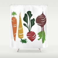 vegetables Shower Curtains featuring Root Vegetables by Katie Martin