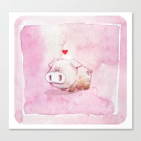 pig Canvas Prints featuring Pig by Steve Baker