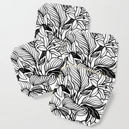 White Black Floral Minimalist Coaster