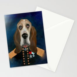 Admiral Tank Basset Hound Oil Painting Stationery Cards