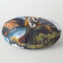Fisherman's Family at the Coast by George Wesley Bellows Floor Pillow