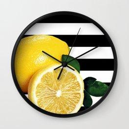 Lemon Slice Black & White Horizontal Stripes Wall Clock