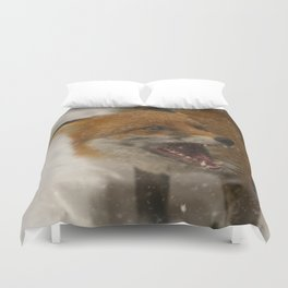 Wild Red Fox In The Snow Duvet Cover