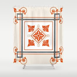 Ornament Painted Tile Shower Curtain