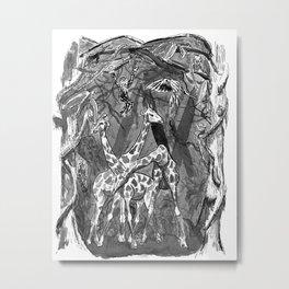 Ink illustration giraffes in the jungle Metal Print