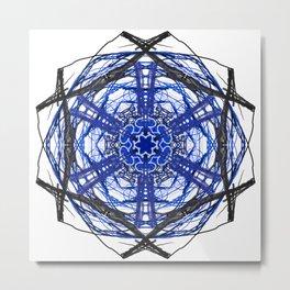 Blue Abstract Mandala Rose Metal Print