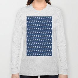 Lightning bolt pattern dark blue and white Long Sleeve T-shirt