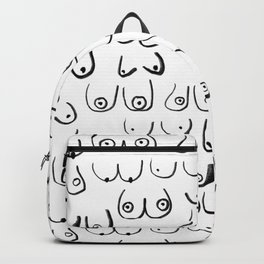 Boobs Pattern - black and white line drawing, life drawing, feminine art Backpack
