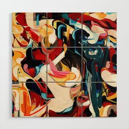 Expressive Abstract Composition painting Wood Wall Art