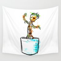 groot Wall Tapestries featuring Watercolour Groot by Curious Nonsense.